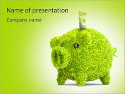 Leaf covered piggy bank - ecology and savings concept PowerPoint Templates