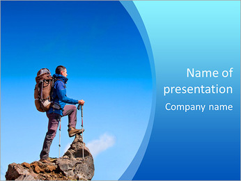 Hiker at the top of a rock with backpack enjoy sunny day PowerPoint Template