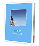 Hiker at the top of a rock with backpack enjoy sunny day Presentation Folder