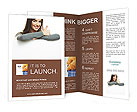 Smiling woman leaning on big blank board Brochure Templates