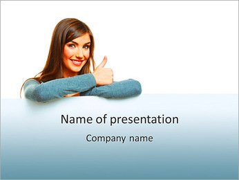 Smiling woman leaning on big blank board PowerPoint Template