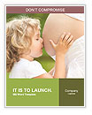 Child kissing belly of pregnant woman against spring green background Word Templates