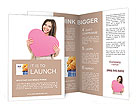 Portrait of attractive happy smiling teen girl with pink heart Brochure Templates