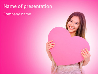 Portrait of attractive happy smiling teen girl with pink heart PowerPoint Template