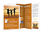 Three kids silhouettes standing on beach at sunset Brochure Templates