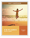 Happy girl jumping on the beach on the dawn time Word Templates