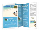 Man with laptop on colorful beach of island Brochure Template