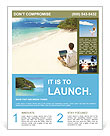 Man with laptop on colorful beach of island Flyer Templates