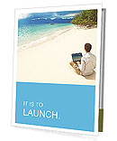 Man with laptop on colorful beach of island Presentation Folder