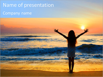 Silhouette of the girl standing at the beach during beautiful sunset. PowerPoint Template