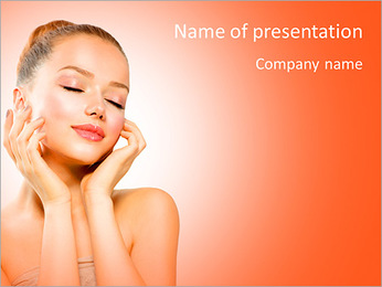 Beauty Girl Portrait. Beautiful Young Woman isolated on White Background. Touching Her Face. Fresh C PowerPoint Template