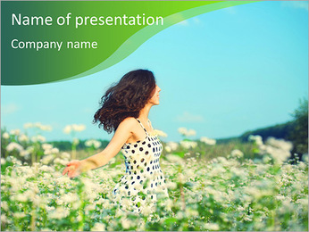 Young happy girl walking on the buckwheat field PowerPoint Template