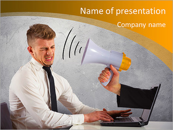 Web advertising and spam concept with businessman and megaphone PowerPoint Template