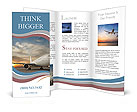 Commercial airplane with sunset Brochure Template