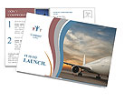 Commercial airplane with sunset Postcard Template