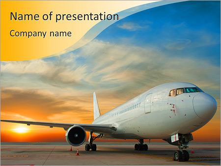 Airplane powerpoint template smiletemplates commercial airplane with sunset powerpoint template toneelgroepblik Gallery