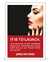Beauty Woman with Perfect Makeup. Beautiful Professional Holiday Make-up. Red Lips and Nails. Beauty Ad Template