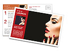 Beauty Woman with Perfect Makeup. Beautiful Professional Holiday Make-up. Red Lips and Nails. Beauty Postcard Template