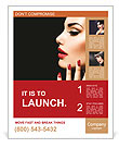 Beauty Woman with Perfect Makeup. Beautiful Professional Holiday Make-up. Red Lips and Nails. Beauty Poster Template