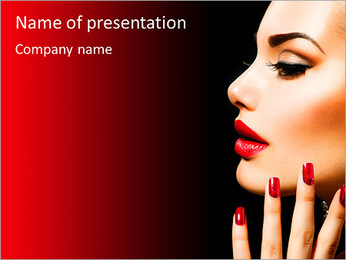 Beauty Woman with Perfect Makeup. Beautiful Professional Holiday Make-up. Red Lips and Nails. Beauty PowerPoint Template