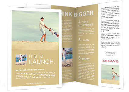 Healthy Father And Daughter Playing Together At The Beach Carefree - Fun brochure templates