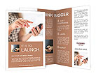 Young beautiful woman writes an SMS to your mobile phone Brochure Templates