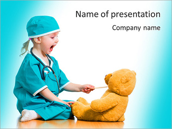 Adorable child dressed as doctor playing with toy over white PowerPoint Template
