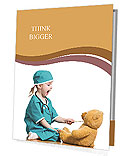 Adorable child dressed as doctor playing with toy over white Presentation Folder