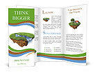 River with falls on the little magic planet. Piece of land in the air. Concept of success and happin Brochure Templates