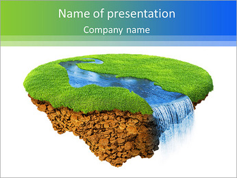 River with falls on the little magic planet. Piece of land in the air. Concept of success and happin PowerPoint Template