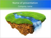 River with falls on the little magic planet. Piece of land in the air. Concept of success and happin PowerPoint Templates
