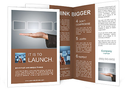 Hand holding digital touch screens brochure template for Digital brochure templates