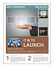 Hand holding digital touch screens Flyer Template