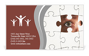 Human Resources concept: Business person through missing jigsaw puzzle Business Card Template