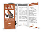Business woman yelling at phone Brochure Template