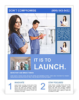 Portrait of a beautiful smiling nurse flyer template for Nurses week flyer templates