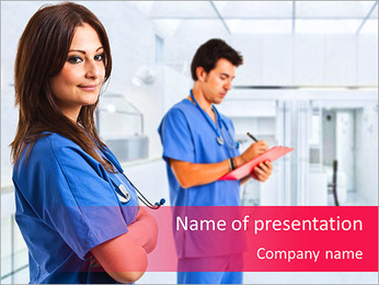 Portrait of a beautiful smiling nurse PowerPoint Template