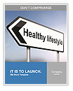 Illustration depicting a sign post with directional arrow containing a healthy lifestyle concept. Bl Word Templates