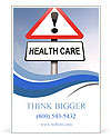 Illustration depicting a red and white triangular warning sign with a 'healthcare' concept. Blurred Ad Template