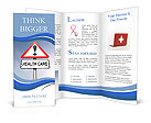 Illustration depicting a red and white triangular warning sign with a 'healthcare' concept. Blurred Brochure Templates