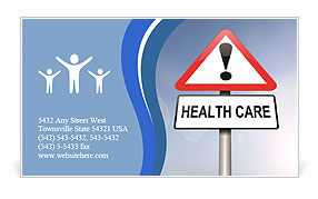 Illustration depicting a red and white triangular warning sign with a 'healthcare' concept. Blurred Business Card Template