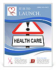 Illustration depicting a red and white triangular warning sign with a 'healthcare' concept. Blurred Flyer Template