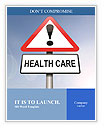 Illustration depicting a red and white triangular warning sign with a 'healthcare' concept. Blurred Word Template