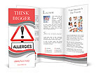 Illustration depicting a red and white triangular warning sign with an 'allergies' concept. White ba Brochure Templates
