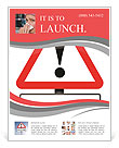Illustration depicting a red and white triangular warning sign with an 'allergies' concept. White ba Flyer Template
