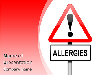 Illustration depicting a red and white triangular warning sign with an 'allergies' concept. White ba PowerPoint Template