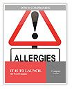 Illustration depicting a red and white triangular warning sign with an 'allergies' concept. White ba Word Templates