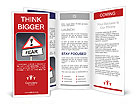 Illustration depicting a red and white triangular warning sign with a fear concept. Blurred dark sky Brochure Templates