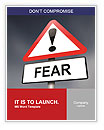 Illustration depicting a red and white triangular warning sign with a fear concept. Blurred dark sky Word Templates