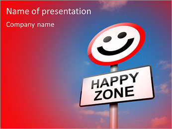 Illustration depicting a road traffic sign with a happiness concept. Blue sky background. PowerPoint Template